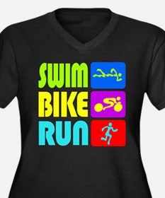 TRI Swim Bike Run Figures Plus Size T-Shirt
