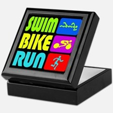 TRI Swim Bike Run Figures Keepsake Box