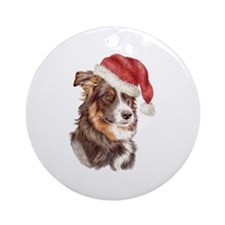 Christmas Border Collie Ornament (Round)