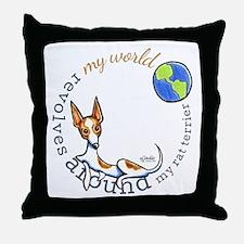 Rat Terrier World Throw Pillow