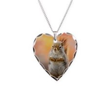 Close up of squirrel sitting  Necklace Heart Charm