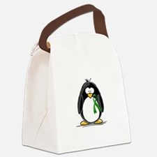 Green Ribbon Penguin Canvas Lunch Bag