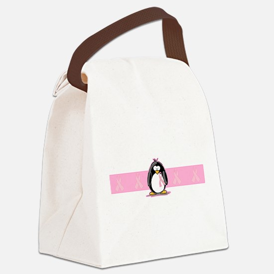 pink ribbon penguin.png Canvas Lunch Bag