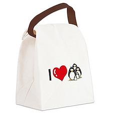 i heart penguins.png Canvas Lunch Bag
