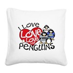 ILovePenguins2.jpg Square Canvas Pillow