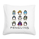9 Penguins.png Square Canvas Pillow