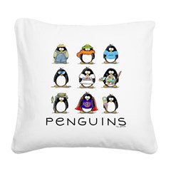 9 Penguins.png Square Canvas Pillow