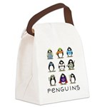 9 Penguins.png Canvas Lunch Bag