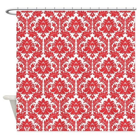 Poppy Red Damask Shower Curtain