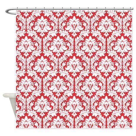 Poppy Red Damask Shower Curtain by Zan pants