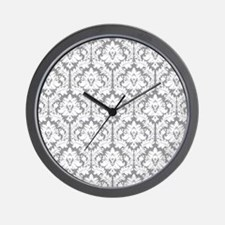 Pebble Grey Damask Wall Clock