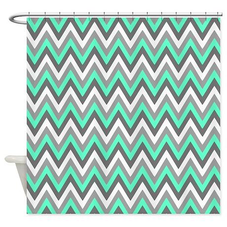 Grey Tiffany Blue Chevron Pattern Shower Curtain