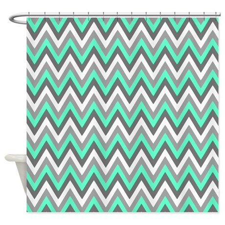 Grey Tiffany Blue Chevron Pattern Shower Curtain By Doodles Design