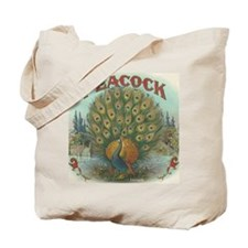 PEACOCK Antique Vintage Label Victorian Bird Tote