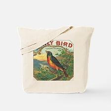 Robin Early Bird vintage label Tote Bag