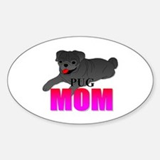 Black Pug Mom Decal