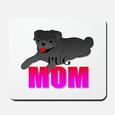 Black Pug Mom Mousepad