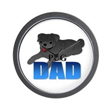 Black Pug Dad Wall Clock