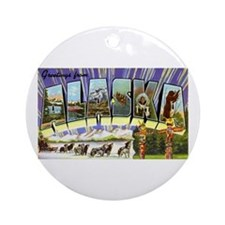 Alaska Greetings Ornament (Round)