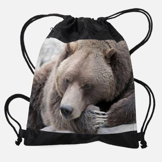 Lazy grizzly Drawstring Bag
