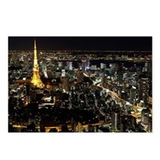 Tokyo Tower at night Postcards (Package of 8)