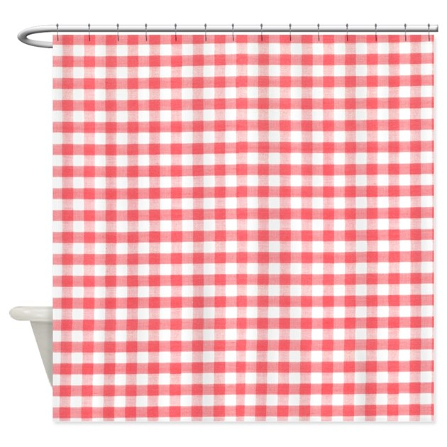 red gingham shower curtain by inspirationzstore