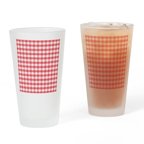 Red Gingham Drinking Glass