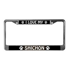 I Love My Shichon License Plate Frame