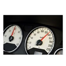 Car speedometer at 135km/ Postcards (Package of 8)