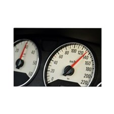Car speedometer at 135km/hour, cl Rectangle Magnet