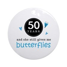 50 Year Anniversary Butterfly Ornament (Round)
