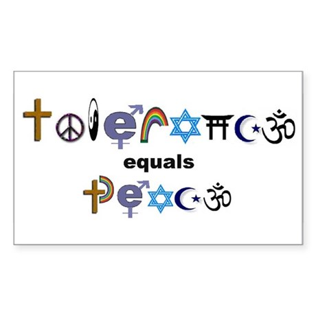 Tolerance = Peace Rectangle Sticker