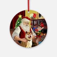 Santa's Shiba Inu Ornament (Round)