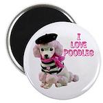 I Love Poodles Magnet