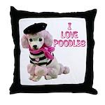 I Love Poodles Throw Pillow