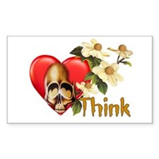 Think Skull Rectangle Decal