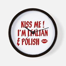 Kiss Me: Italian & Polish Wall Clock
