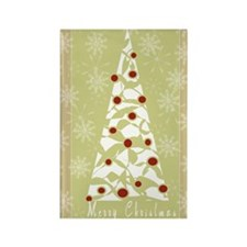 White Tree Merry Christmas Rectangle Magnet