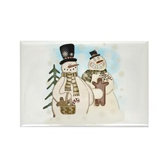 Gingerbread Snowmen Rectangle Magnet