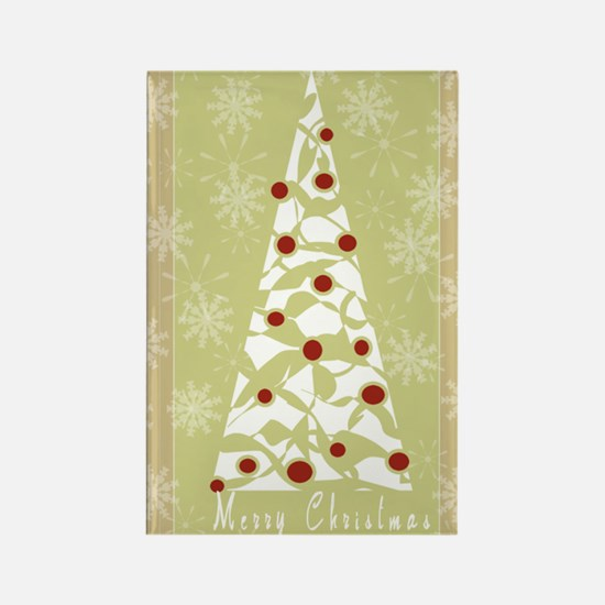 White Tree Merry Christmas Rectangle Magnet