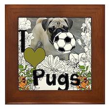 The Pony Cafe I Love Pugs Framed Tile