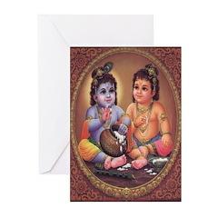 Krishna 4 Greeting Cards (Pk of 10)