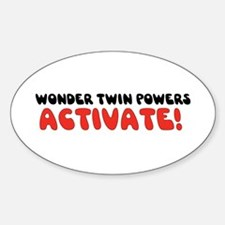 Wonder Twin Text Oval Decal