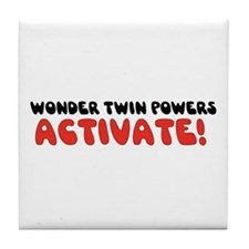 Wonder Twin Text Tile Coaster