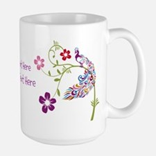 Add Your Own Text Beautiful Peacock Mugs