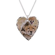 Cheetah and young cubs in for Necklace Heart Charm