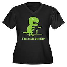 T-Rex Loves Disc Golf Women's Plus Size V-Neck Dar
