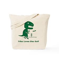 T-Rex Loves Disc Golf Tote Bag