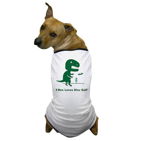 T-Rex Loves Disc Golf Dog T-Shirt