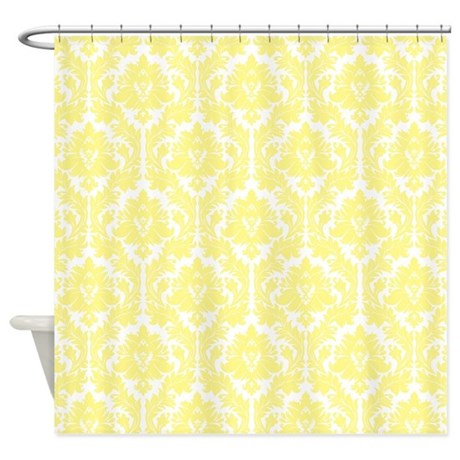 Light Yellow Damask Shower Curtain